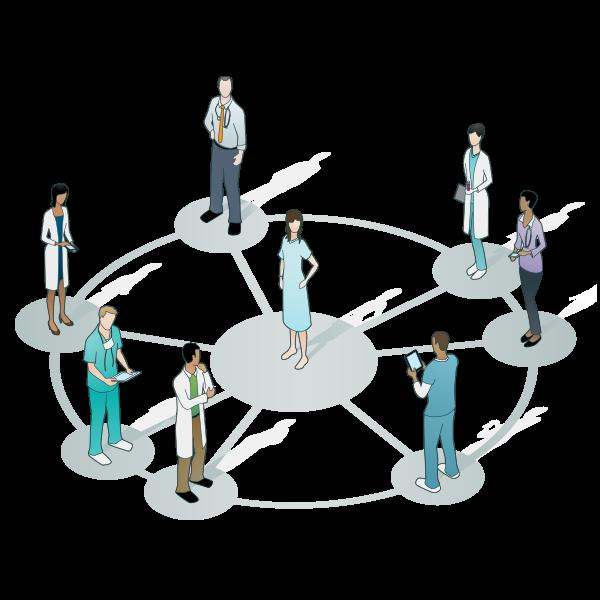 Doctors circling a patient