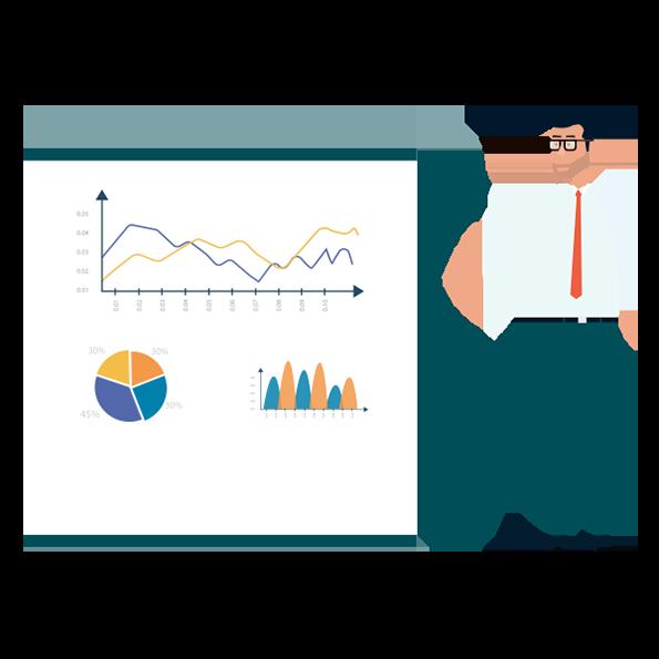 Man presenting data & charts on white board
