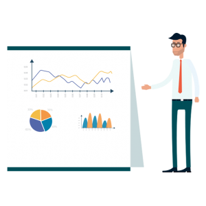 Man presenting data & charts on white board